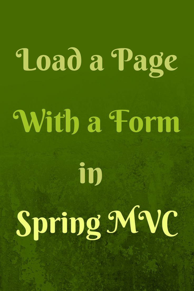 Load a page with a form in Spring MVC