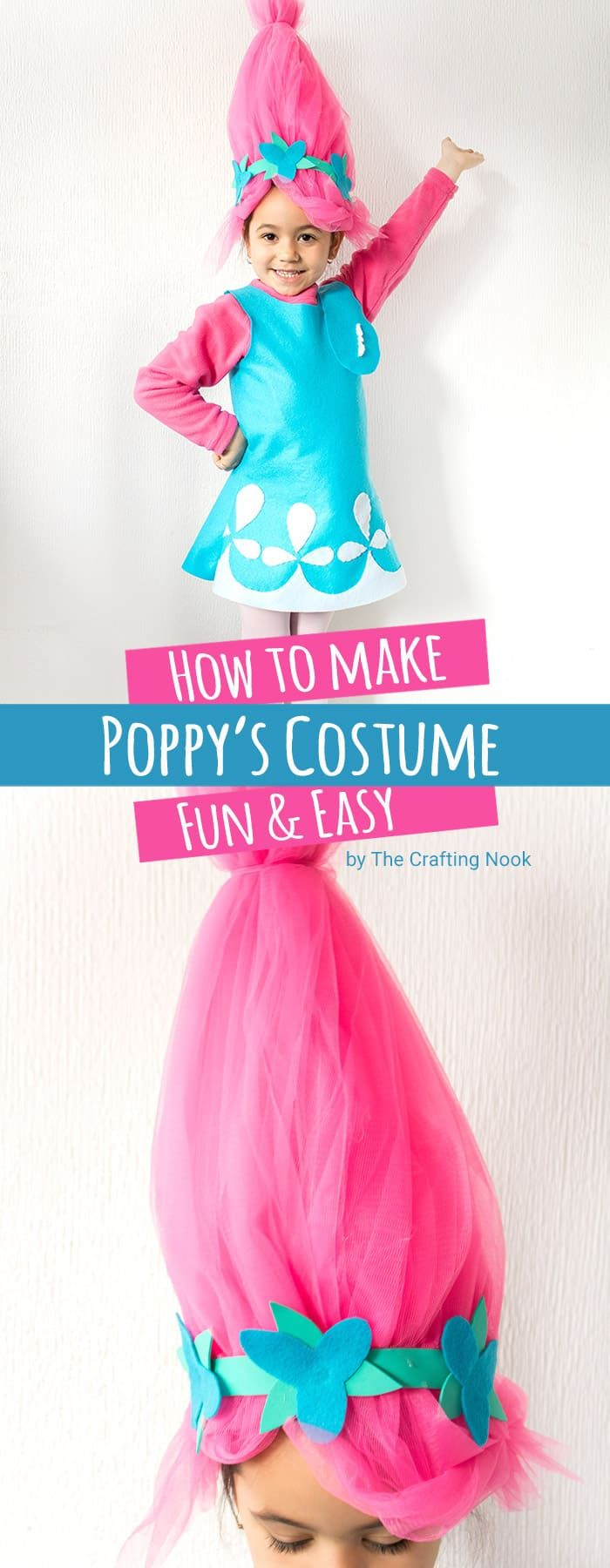 Need a last minute Troll's Poppy Costume??? You got it you can have this costume done in about 2 to 3 hours and you don't need to be a pro sewer. It's super cute and easy to make!