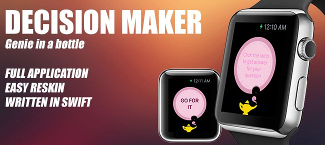 #Decision_maker is a simple genie in a bottle #apple watch application. When you don't know what to do with some certain thing, as genies help. Tap on the genies lamp to get his advice.
