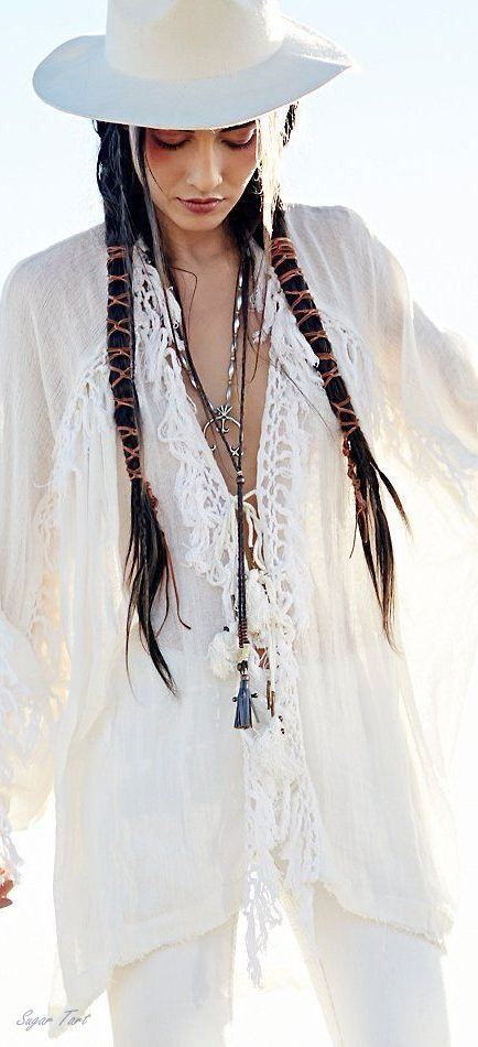 boho chic embroidery embellished tunic top with modern hippie braided hair.  For MORE Bohemian Fashion FOLLOW https://www.pinterest.com/happygolicky/the-best-boho-chic-fashion-bohemian-jewelry-gypsy-/ now!