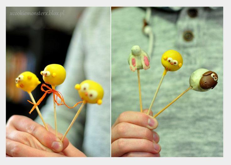 Czekoladowe lizaczki wersja Wielkanocna  #easter #Wielkanoc #zajączek #kaczuszka #cakepops #pralinki #trufelki