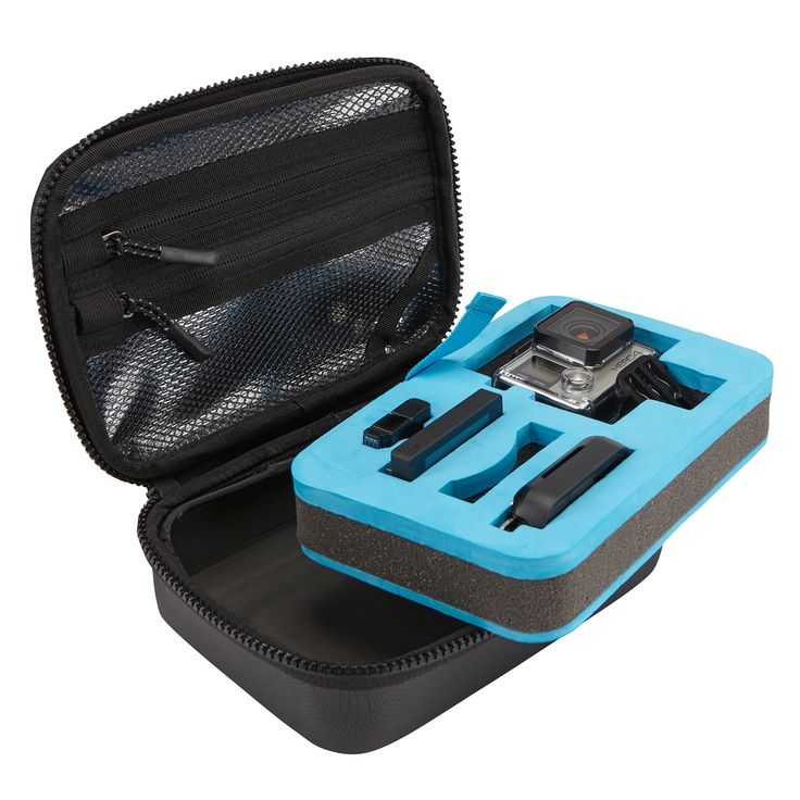 Thule TLGC-101 Legend Case for GoPro (Black). Crushproof, padded compartment holds GoPro camera, LCD backpack, remote control, extra batteries and SD cards. Removable die-cut foam pad makes it easy to fully rinse interior clean of dust, mud, sand and build-up. Lid pocket stores chargers, cables and strap mounts. Semi-hard-shell construction and rugged finish ensure protection and secure grip. Integrated quick-grip handle can also be attached with carabineer to belt, harness or pack.