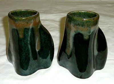 2-ROBERGE-CANADA-ART-POTTERY-MUGS-FREE-FORM-ABSTRACT-MID-CENTURY-MODERNIST