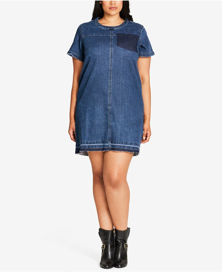 City Chic Trendy Plus Size Denim T-Shirt Dress