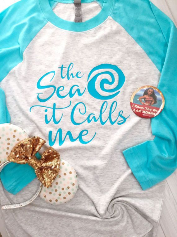 The Sea It Calls Me - Polynesian Island Shirt - Raglan Shirt - Baseball Tee - Moana Loves the Sea Shirt - Womens Clothing