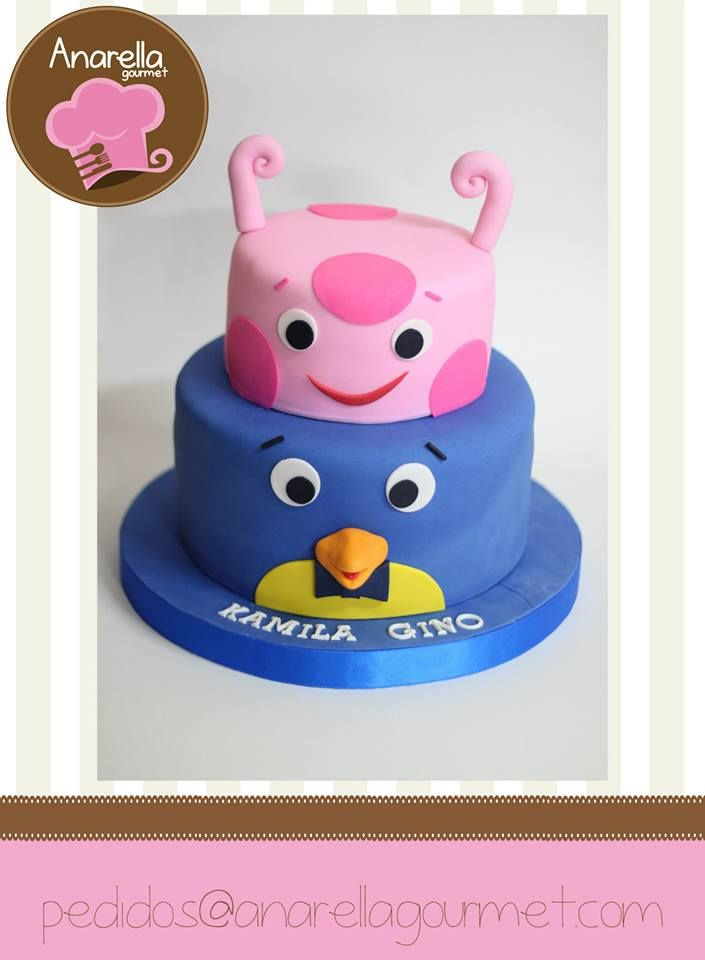 Torta escénica de Pablo y Uniqua, listos para celebrar el cumpleaños de Kamila y Gino!  #Backyardigans #Backyardiganscake…