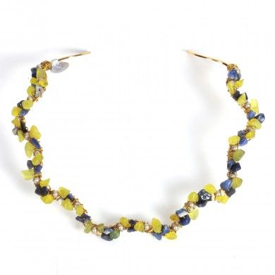 Pearl & Jade Choker - A unique gold plated choker decorated with Swarovzki pearls, jade and blue sodalite.