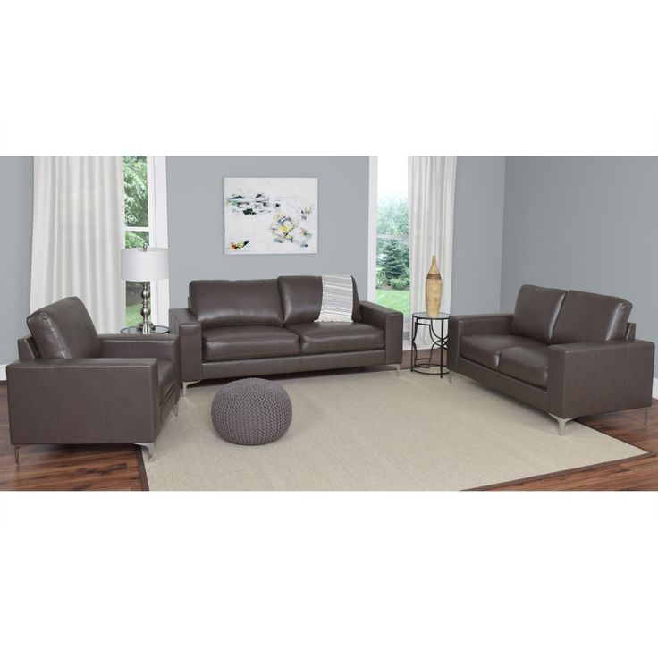 CorLiving Cory 3 Piece Contemporary Bonded Leather Sofa Set - LZY-401-Z1
