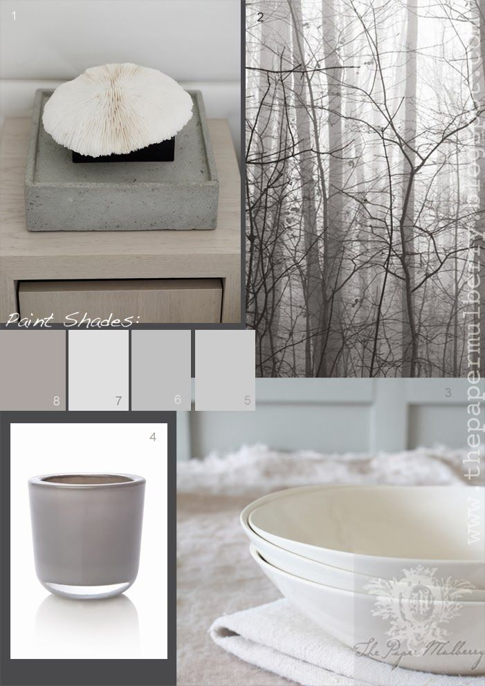 The Paper Mulberry: Interior Paint Shades - Soft Neutrals part 1 - Paints: 5.'Lily' a soft palest neutral beige that changes in different lights by Neptune 6. 'Blackened' 2011 a cool very pale grey by Farrow and Ball 7. 'Salt' a warm white without any yellow by Neptune 8.'China Clay Dark' 178 a soft deep mauve taupe (great feature wall shade) by Little Greene Paint Company