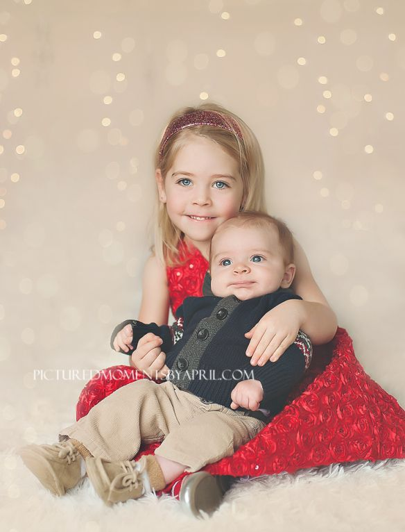 Christmas Baby Pictures siblings - girl and baby boy