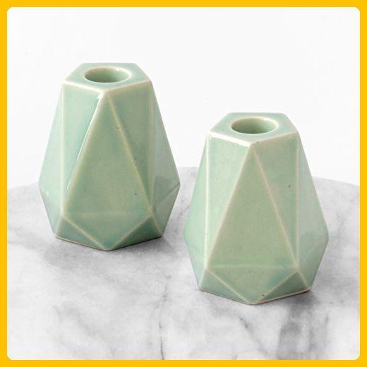 Geometric Candlesticks, Pair of Shabbat Candle Holders Pentagon Shaped Modern Judaica, Light Green Glaze, Made in Israel - Wedding table decor (*Amazon Partner-Link)