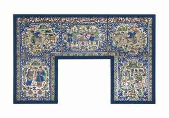 A large moulded pottery tile panel | Qajar Iran, late 19th century