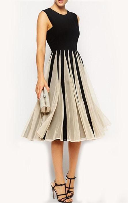 Color-block Black Sleeveless With Mesh Round Neck Pleated Dress