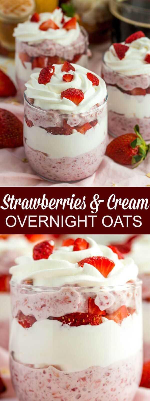 Fruity, creamy and utterly delicious these Strawberries and Cream Overnight Oats are an easy breakfast, @indelight  AD #SplashofDelight