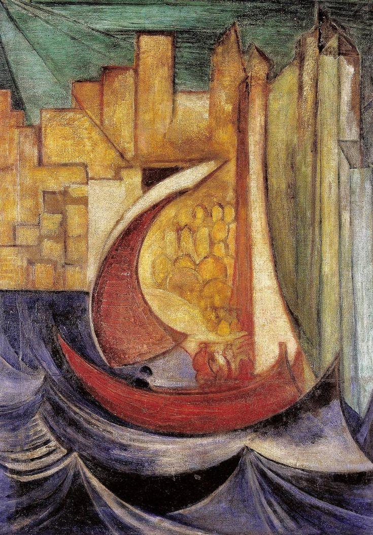 """Leon Chwistek """"Łódź"""", ok. 1919, olej na płótnie, 96 x 70 cm, Muzeum Narodowe, Kraków"""