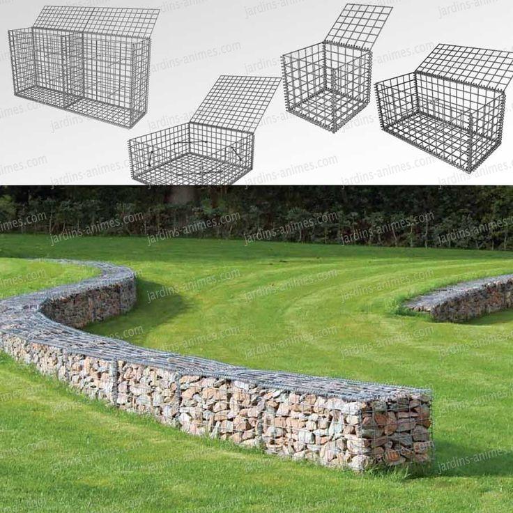 De beaux murs en gabions. Simple et pratique à monter , le gabion, assemblage de grille en métal que l'on remplit de pierre ou tout autre matériau,...