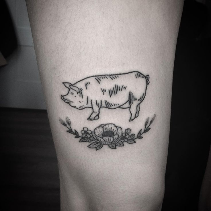 """Cute little pig tattoo for a fellow vegetarian"""