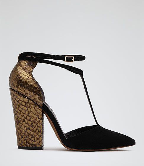Womens Black T-bar Snake Heel Shoes - Reiss Noma