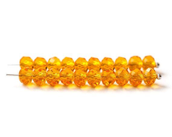 2206_Glass beads 6x4 mm, Orange jewelry glass, Transparent crystal beads…