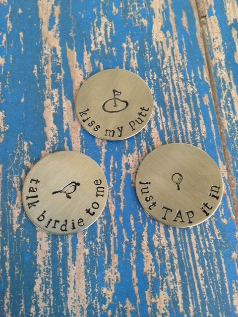 $15 Great gift for any golfer! This listing is for a set of 3 personalized golf ball markers. Each marker is a 1 round, brushed stainless steel