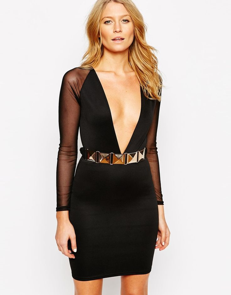 Club+L+Extreme+Plunge+Dress+with+Belt+and+Mesh+Sleeves