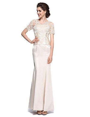Русалка Платье для матери невесты - Прозрачные ткани До щиколотки Короткий рукав…