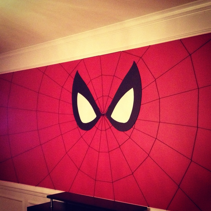 Spiderman wall for super hero comic book birthday party