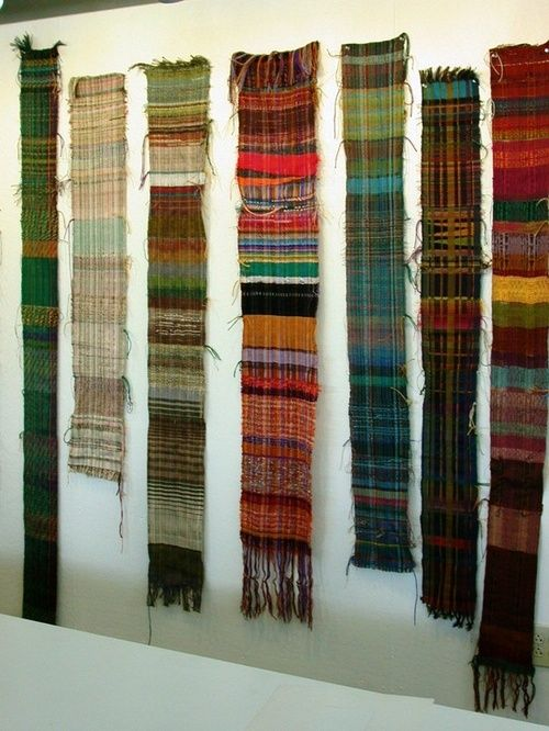 weavings for wall.  I love the variety of color. I'm definitely going to do this.  I think I'll have my hang from a polished piece of wood.