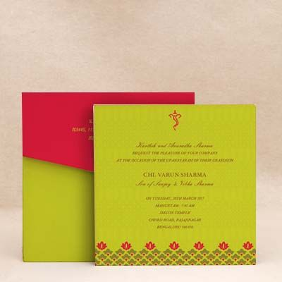 Enchanted Bloom: Green Thread Ceremony Invitation Cards , E-Card Designs Buy Enchanted Bloom: Green Thread Ceremony Invitation Cards , E-Cards Online  #Munj #Batu! #ThreadCeremony #invitations #Munj #Invitations #Janeva #Invites #Upnayanam #Cards