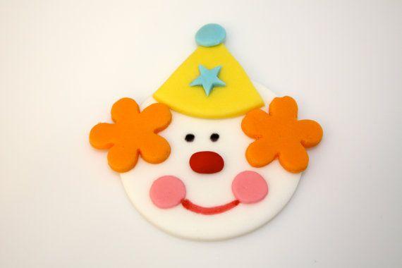 CIRCUS CLOWN   Fondant Cupcake Tops  1 Dozen by topmycupcake, $15.95
