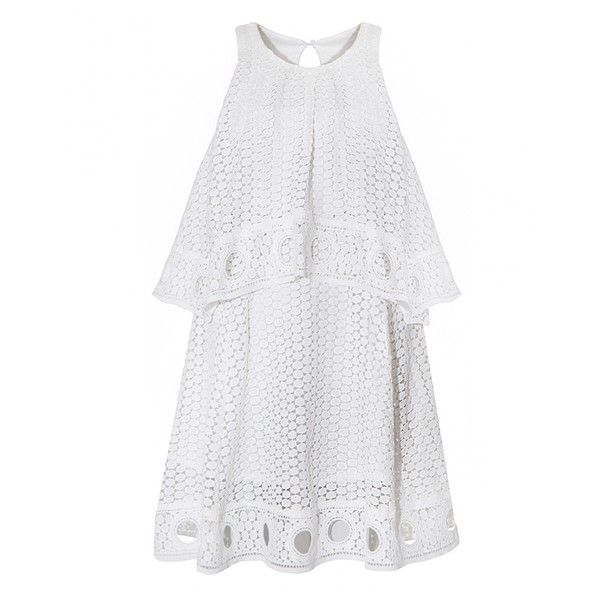 White Ring Hem Eyelet Dess (3,280 THB) ❤ liked on Polyvore featuring dresses, asymmetrical top, cotton summer dresses, white eyelet dress, white day dress and halter-neck dress