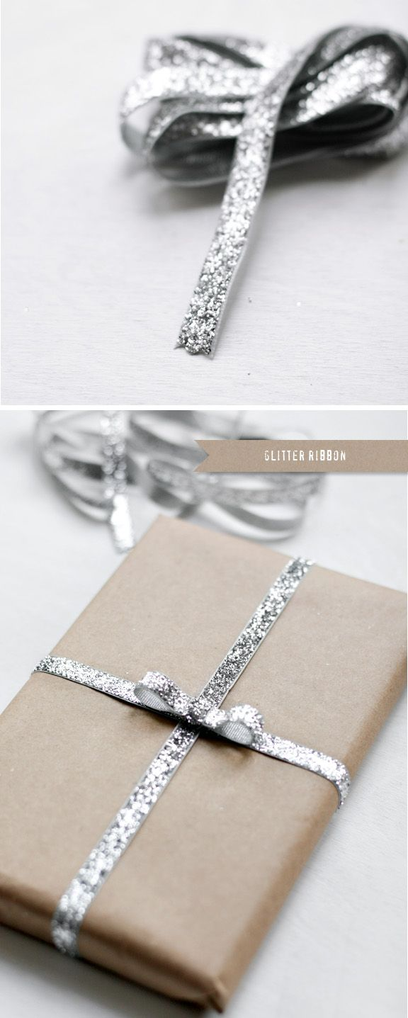 simple/pretty. Glitter ribbon by Besotted Brand.: Simple Glitter, Crafts Paper, Silver Glitter, Kraft Paper, Brown Paper, Paper Wraps, Gifts Wraps, Glitter Ribbons, Wraps Ideas