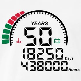 50 ans au compteur   T shirt anniversaire - naissance, 10, 20, 30, 40, 50, 60, 70, 80, 90, 100 ans