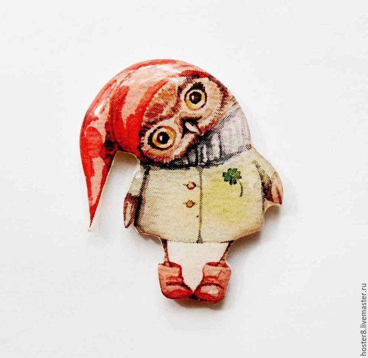 """Купить Брошь """"Совушка гномик"""" (0185) - оранжевый, бохо шик, бохо-шик, бохо брошь"""