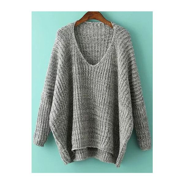 Grey V Neck Batwing Sleeve Dip Hem Oversized Sweater ($19) ❤ liked on Polyvore featuring tops, sweaters, grey, over sized sweaters, long sleeve pullover, grey pullover sweater, oversized gray sweater and v-neck sweater