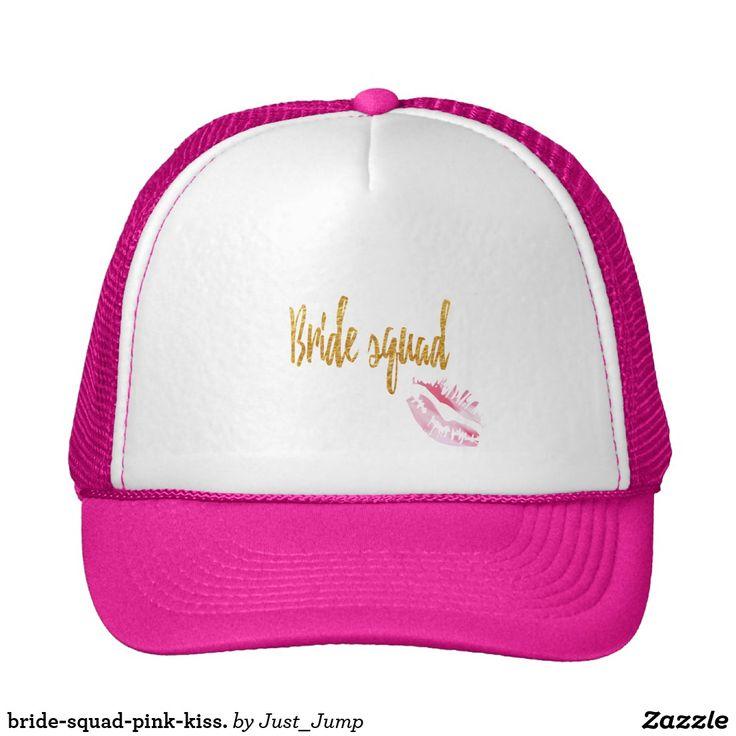 bride-squad-pink-kiss. pink cap trucker duck bachelorette favor party shower bridal