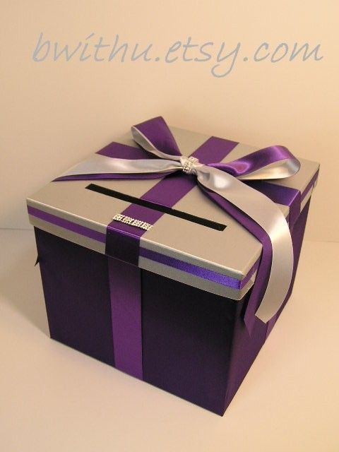 wedding money box silver and purple card box gift card box holder customize in your color