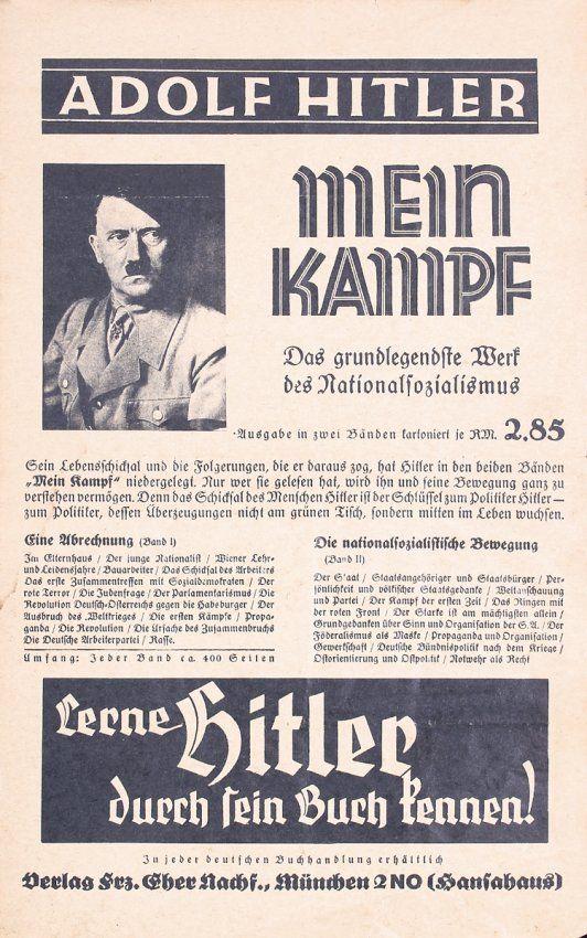 """1930s Hitler """"Mein Kampf"""" Promo Poster. """"Lerne Hitler durch sein Buch kennen"""