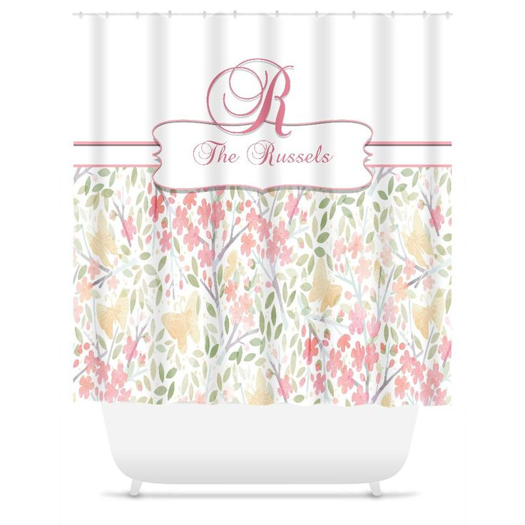 Shower Curtain. Personalized Floral Shower Curtain. Mongrammed Shower Curtain