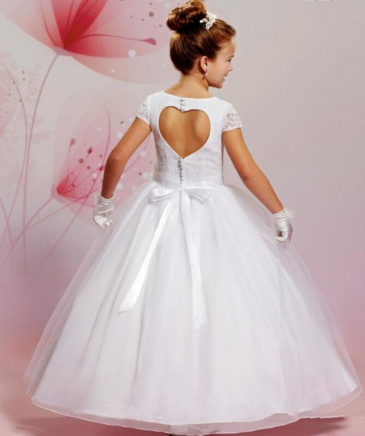 2016 First Communion Dresses For Girls Short Sleeve Lace Bodice Flower Girl Dress Ball Gown
