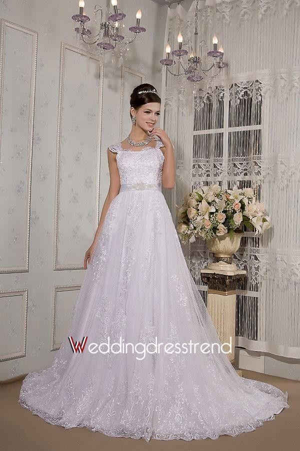 Gorgeous A-line Cap Sleeve Long Sash Lace Wedding Dress