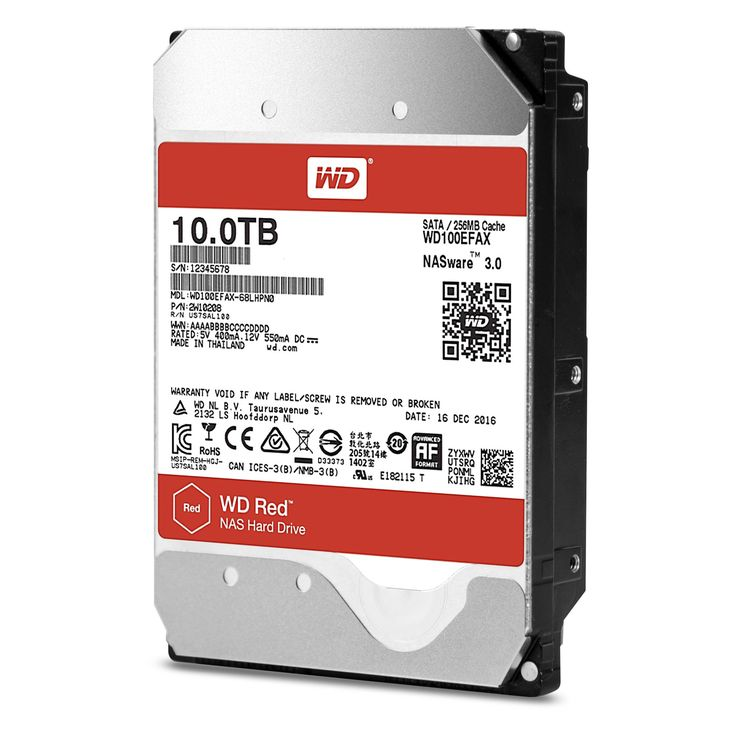 """WD Red 10TB NAS Hard Disk Drive - 5400 RPM Class SATA 6 Gb/s 256MB Cache 3.5"""" - WD100EFAX"""