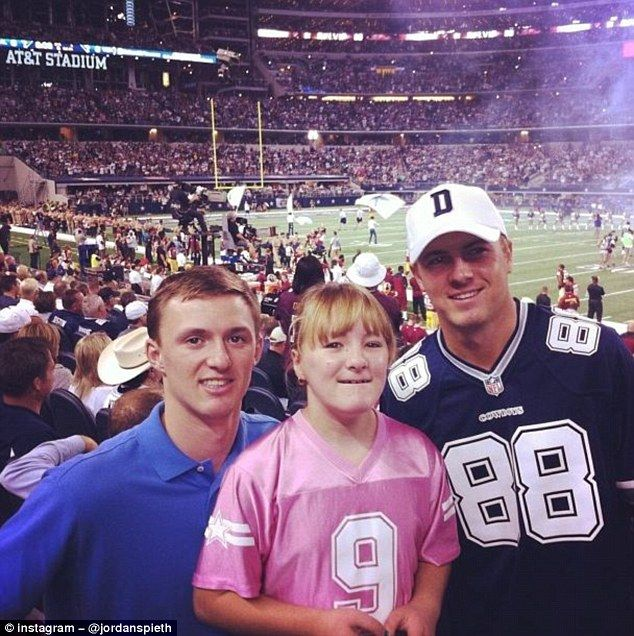 Jordan Spieth posted this picture, of himself with brother Steven (left) and sister Ellie at an NFL game