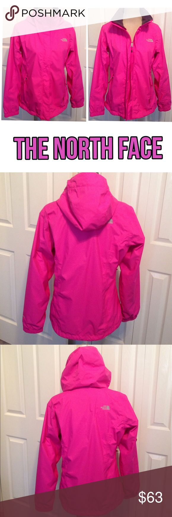 """North Face HyVent, Adjustable Collar/Hoodie Coat North Face HyVent, Pink Lightweight Water Resistant, Stay Dry Wind Breaker Jacket/Coat. Perfect for hiking, golfing, Skiing or casual coat for any season. Front zip close with Velcro strips to cover zipper (see 1st & 6th pic difference) for smooth look. Adjustable high or low style collar & option to fold hoodie inside collar. 2 zip side pockets with stay dry mesh lining. North Face logo on top front & on back.✅Chest 45"""", Waist 40"""" & 26"""" Long…"""