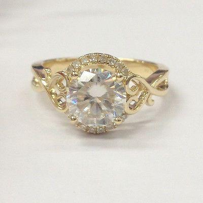 6.5mm Round Moissanite Diamond Engagement Wedding Ring,14K Yellow Gold,Promise