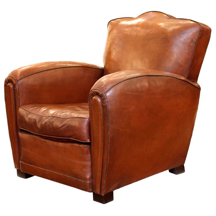art deco period leather club chair - Club Chair