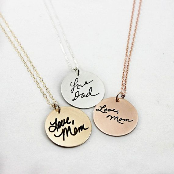 Custom Handwriting Necklace Handwriting by TagYoureItJewelry