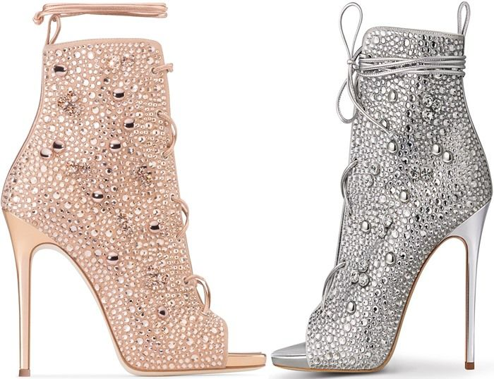 Giuseppe for Jennifer Lopez 'Lynda' Embellished Lace-Up Sandals