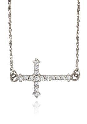 Belk  Co. Silver Diamond Sideways Cross Pendant in 10k White Goldbr