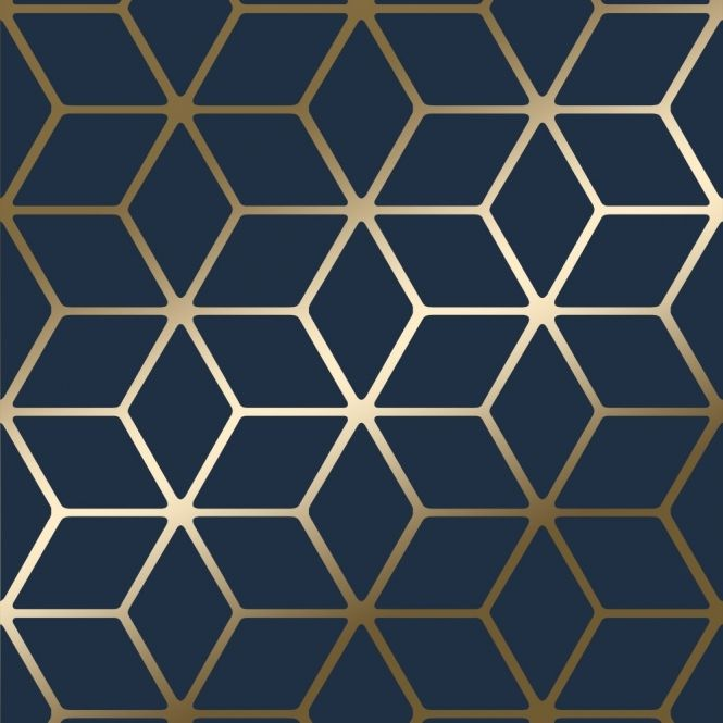 House Of Alice Cubic Shimmer Metallic Wallpaper Navy Blue